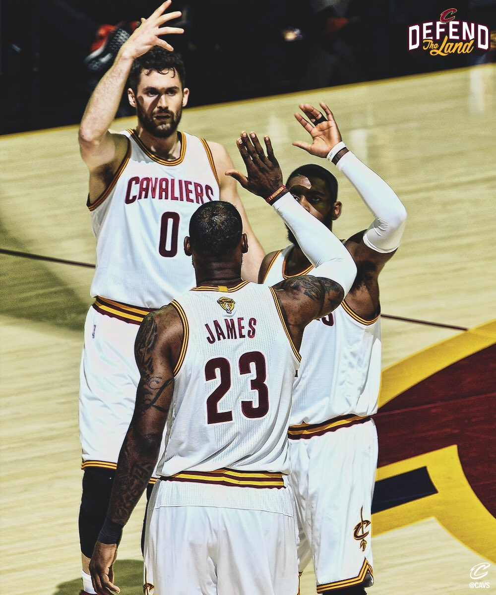 LeBron James, Kyrie Irving & Kevin Love © 2017 twitter.com/cavs