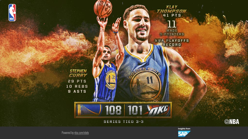 Klay Thompson + Steph Curry - © 2016 twitter/NBAstats